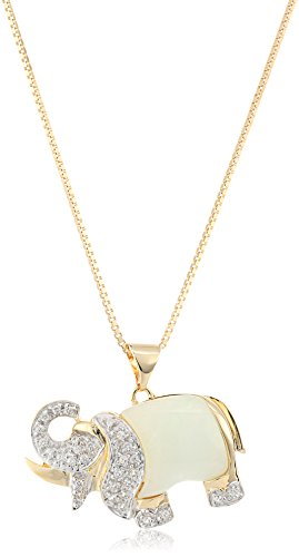 18k Yellow Gold Plated Sterling Silver Genuine Green Jade and Created White Sapphire Elephant Pendant Necklace, 18