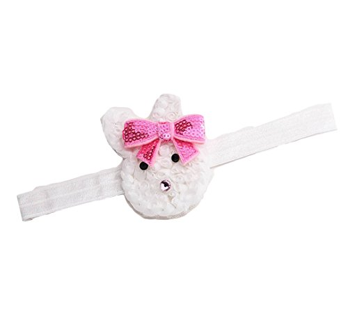Cute Baby Grils Headband Bunny Rabbit Ears with Sequin Bows for Easter gift JHE01 (White)