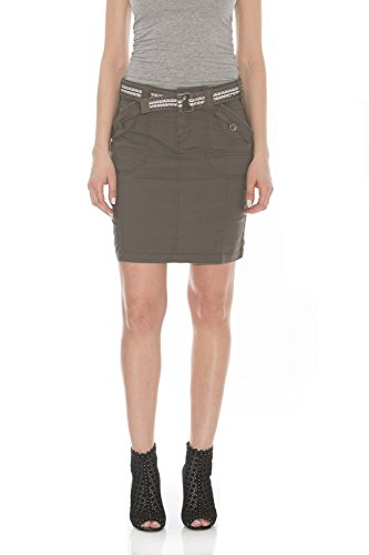 Womens Jeans Cargo - Suko Jeans Poplin Cargo Skirt for Women 57050 Fatigue 4