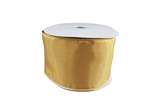 Spring Satin Wired Edge Ribbon for Wreaths, Crafts, Hair Bows - Solid Pastel Colors, 2.5 Inches by 25 Feet (Gold) - Gold Wired Ribbon
