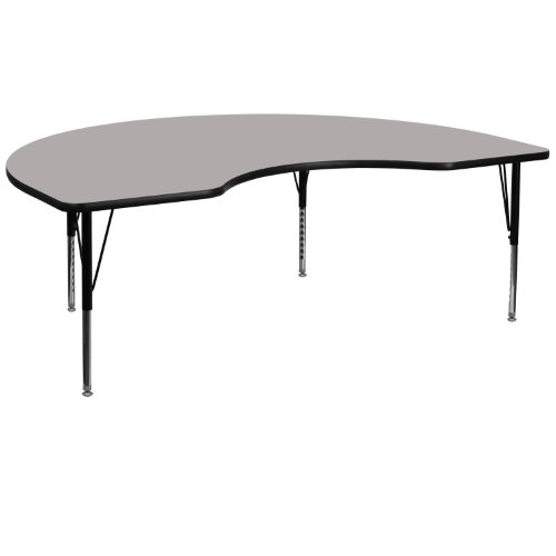 Flash Furniture 48''W x 96''L Kidney Grey HP Laminate Activity Table - Height Adjustable Short Legs