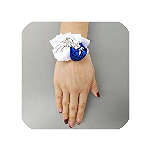 6Piece/Lot Wedding Bride Girl Bridesmaid Hand Wrist Corsage Ribbon Rose Brooch Party Party Decoration Bridal Prom 0688 40