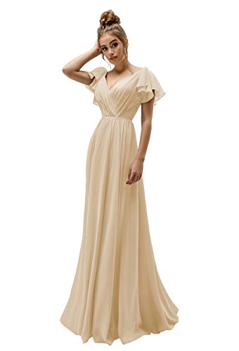 - ZhixingKJ Women's V-Neck Chiffon Empire Bridesmaid Dress Long A-Line Ruffled Sleeves Pleats Prom Party Gown Size 4 Champagne