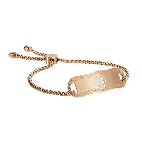 Medical Alert ID Bracelet Medical Jewelry Adjustable 5-8½ Inchs Engraving