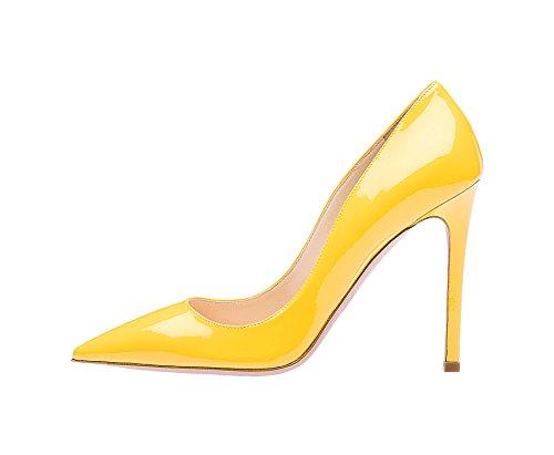 Ruanlei@Sexy de Tacones Altos/Clásicas Tacones Altos/fashion - Cerrado Mujer/Tacones de Charol ElegantesSalvaje y elegante de alta Heel Shoes mujer yellow