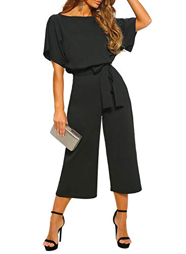 (Happy Sailed Women Summer Short Sleeves Elegant Playsuit Wide Leg Jumpsuit Romper with Belted Small Black)