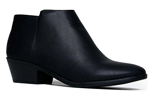 J. Adams Women's Black Pu  Low Heel Western Ankle Bootie - 8.5 B(M) US