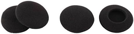 uxcell ヘッドフォンカバー スポンジ製ブラック イヤホンクッション 4.5cm直径 4個入り