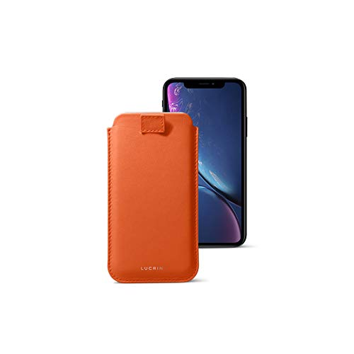 ❥ Lucrin - Leather Case with Pull Tab Compatible with iPhone XR and Wireless Charging - Orange - Genuine Leather orange iphone xr case 10