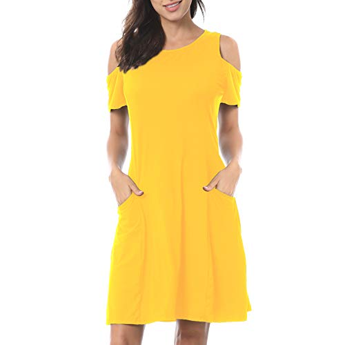 TNNZEET Women's Summer Cold Shoulder T-Shirt Tunic Top Short Sleeve Loose Swing Casual Dress with Pockets (Yellow, XX-Large)