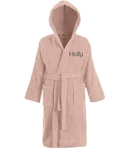 Personalised Boys   Girls 100% Cotton Hooded Bathrobe Towelling Bath Robe  Childrens Kids 4-12 Years (Pink 2cb7fc236