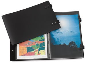 Leather Spiral Presentation Book (Prat Pampa 163 Spiral Book, Soft Bonded-Leather Cover with 10 Sheet Protectors, Landscape 8.5 X 11 inches, Black (163I-8.5x11))