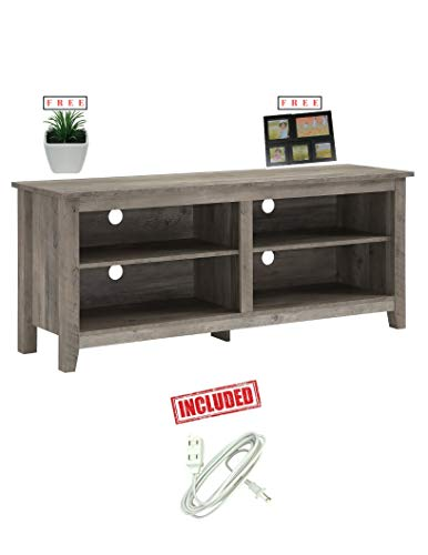 (Home Accent Furnishings New 58 Inch Wide Television Stand in Grey Wash Finish with Free!)