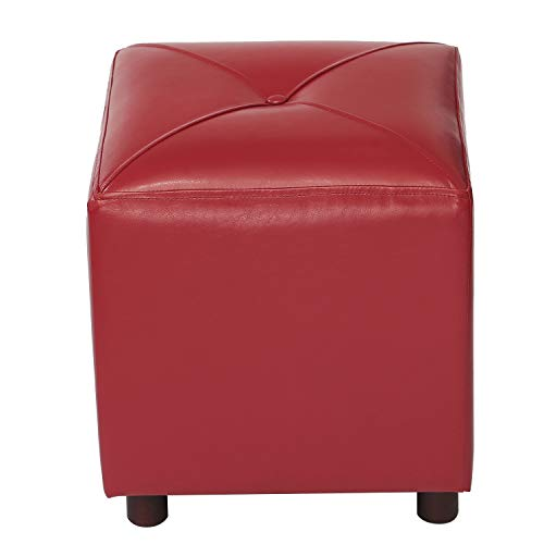 Modern Bonded Leather Red Cube Ottoman