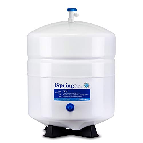 iSpring T32M Pressurized Water Storage Tank with with Ball Valve for Reverse Osmosis RO Systems, 4 Gallon
