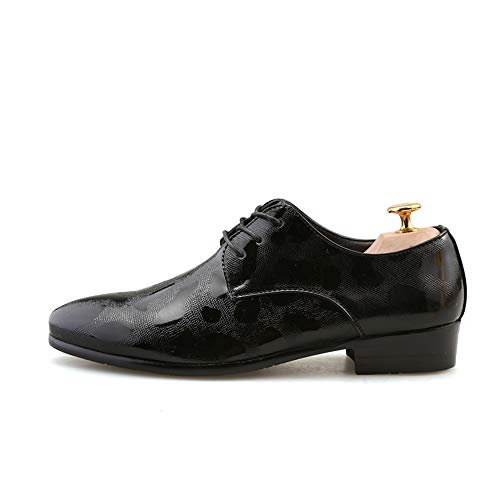Silver stile in New Scarpe casual Oxford uomo Casual 42 Formal Pelle Nero da Shoes EU Uomo rilievo Color Dimensione floreale fq0zWwZW