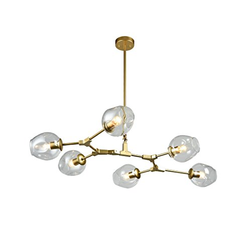 - AXILAND Modern Gold Glass Chandelier Dining Room Large Chandeliers 6-Light