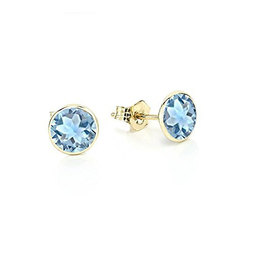 a53c33389 Amazon.com: 14K Yellow Gold Handmade Gemstone Stud Earrings With 5 MM Round  Blue Topaz Gemstones: Handmade