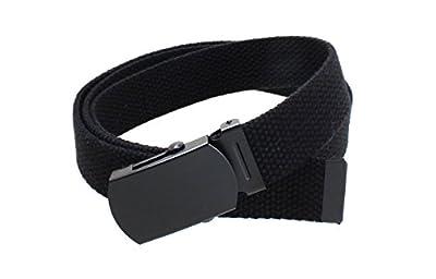 """Kids Canvas Web Belt Flat Black Buckle/Tip Solid Color 44"""" Long 1"""" Wide"""
