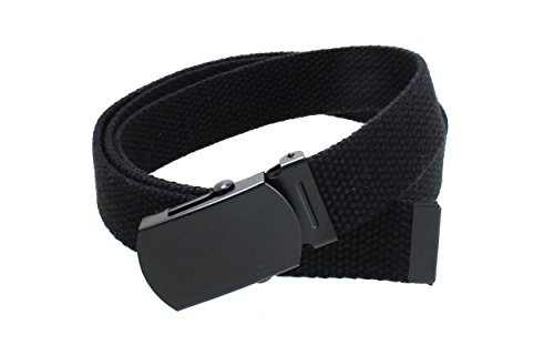 Kids Canvas Web Belt Flat Black Buckle/Tip Solid Color - (Canvas Kids Belt)