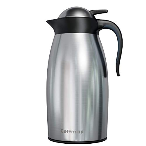 Thermal Coffee Carafe Server 68 Oz – Stainless Steel Double Walled Vacuum Insulated Thermos Pitcher – 2 Liter Water Tea…