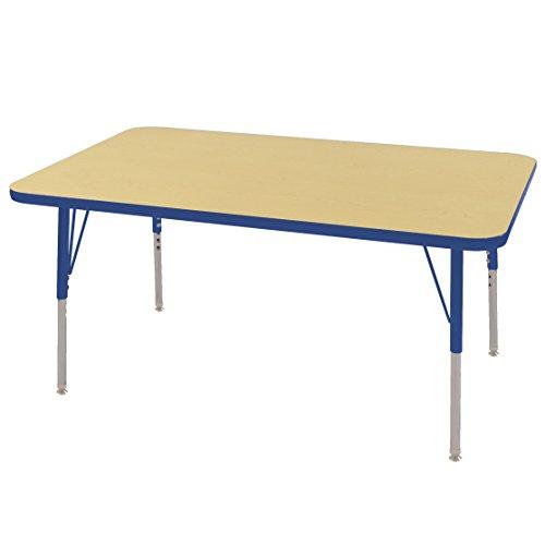 ECR4Kids Mesa T-Mold 30'' x 48'' Rectangular School Activity Table, Standard Legs w/ Swivel Glides, Adjustable Height 19-30 inch (Maple/Blue) by ECR4Kids