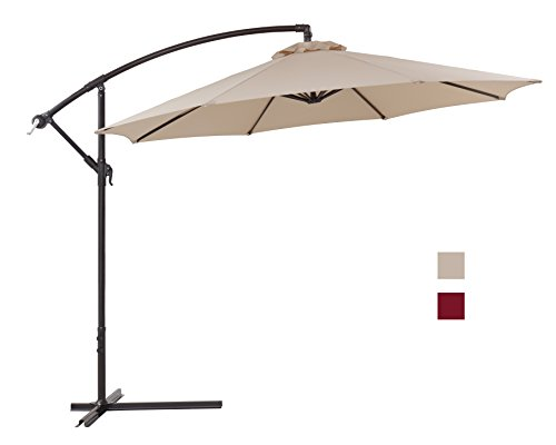 Finnhomy Canopy Patio Umbrella Sturdy 8 Ribs 10 Ft Large Strong Aluminum Pole UV Resistant 250 GSM Fabric Offset w Crane Wind Air Vent Tilt Outdoor Garden Pool Sun Shade Market Cantilever Beige
