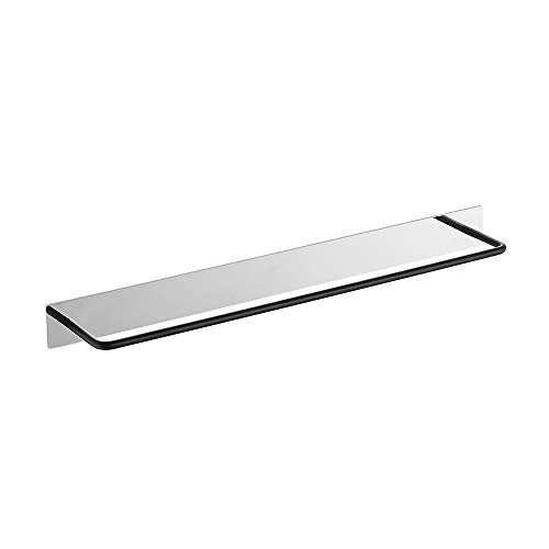 FORIOUS Towel Racks for Bathroom with Patented Glue Self-Adhesive, Stainless Steel Bathroom Towel Bar 18-Inch, No Drilling Bathroom Towel Hanger with Mirror Polish Brushed Finish Matte Black ()