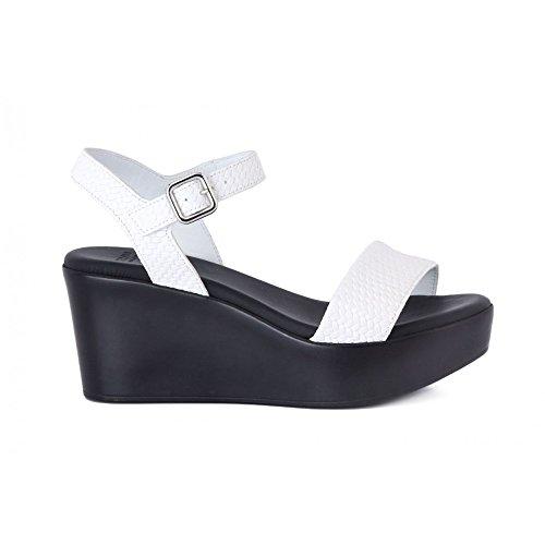 FRAU 88Q2 zapatos de la mujer de la armadura blanco sandalias de correa ligera cuña Bianco