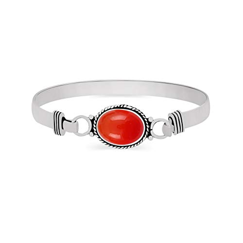 Natural Oval Shape Carnelian Cuff Bangle 925 Silver Overlay Handmade Vintage Boho Style Jewelry for Women Girls