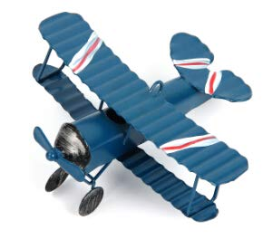 - Dalas Vintage Double Wings Metal Iron Airplane Model Handcraft Biplane Aircraft Glider Home Wedding Decoration - (Color: Blue)