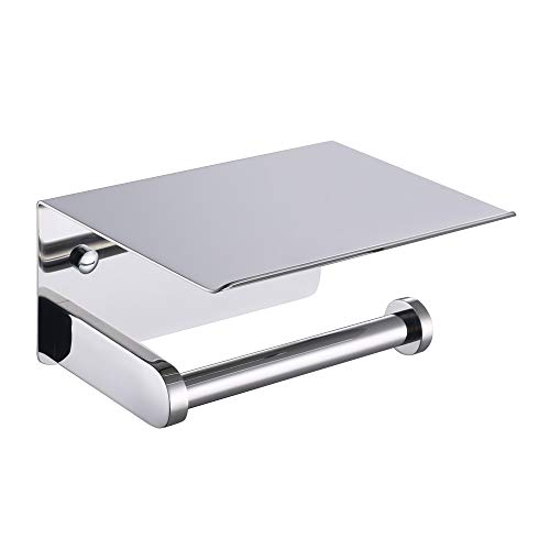 APLusee Toilet Paper Holder with Phone Shelf Polished Chrome, SUS 304 Stainless Steel Bathroom Accessories Tissue Roll Dispenser Storage Wall