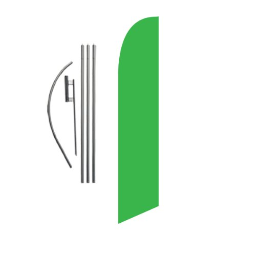 Solid Green 15ft Feather Banner Swooper Flag Kit - INCLUDES 15FT POLE KIT w/ GROUND SPIKE