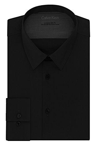 Calvin Klein Men's Stretch Xtreme Slim Fit Solid Point Collar Dress Shirt, Black, 14