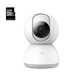 IMI Dome 1080p HD WiFi IP Camera Indoor Wireless Pan Tilt Security Home Surveillance with Night Vision Pre-Installed 32G Card Motion Detection Alert 2-Way Audio for Baby/Pet/Elder