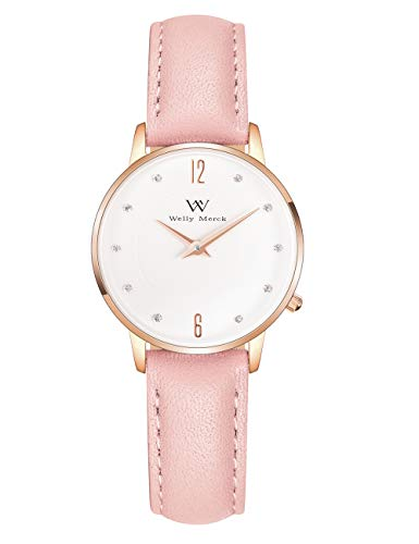 Welly Merck Women Fighter Lisbon Swiss Quartz Movement Rose Gold 26mm Watch 12mm Pink Italy Genuine Leather Interchangeable Strap Band 50M Water Resistant