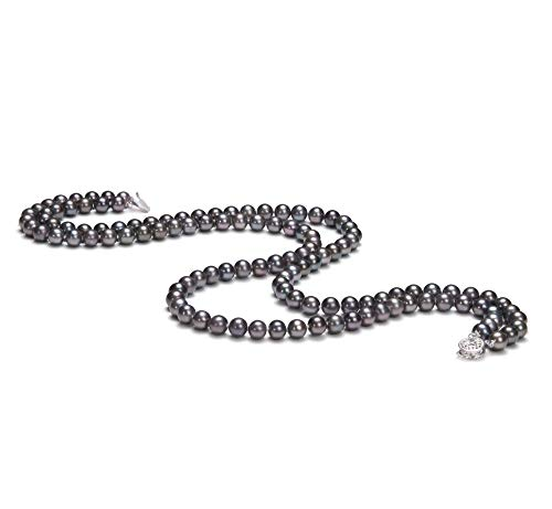 (Alexandra Black 6-7mm Double Strand AA Quality Freshwater Cultured Pearl Necklace for Women-16 in Chocker Length)