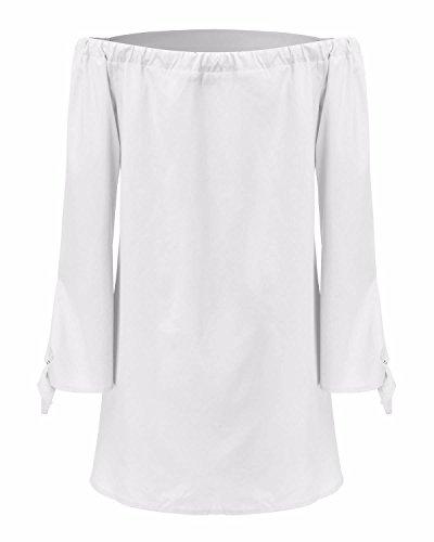 StyleDome Vestido Corto Elegante Casual Mangas Largas Cóctel Cuello Barco para Mujer Blanco