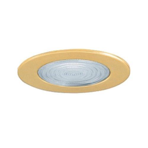 Jesco Lighting TM5507PB 5-Inch Aperture Line Voltage Trim Recessed Light, Fresnel Lens For Shower, Polished Brass Finish