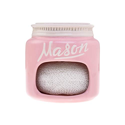 Pink Ceramic Mason Jar Kitchen Sponge Holder - Adorable Home Retro and Farmhouse Kitchen Decor - Amazing Rustic Accessory - Vintage Gift for Friends, Family and Collectors by Goodscious