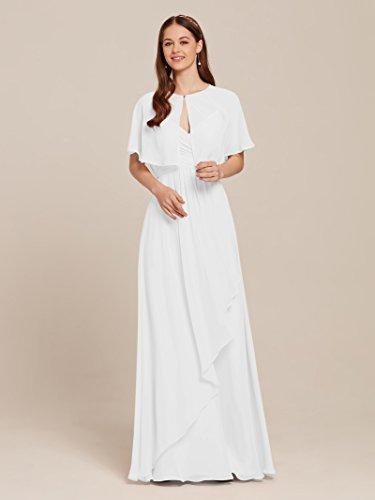 95fb4a1821bf AW Women's Chiffon Wrap Shawl Shrug Wedding Cape Bolero Jacket Evening Coat  Cover Up, White