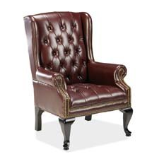 "Lorell Queen Anne Side Chair, 29"""" x30 x39-1/2, Burgundy/Mahogany, Sold as 1 Each"