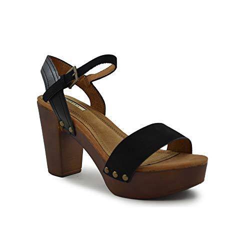 Detalles Negro Sandalia Pala Tacon Medio qwx8Eg