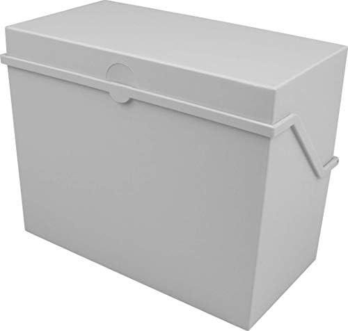 Helit - Caja archivadora (tamaño A6, apertura horizontal), color gris claro: Amazon.es: Oficina y papelería