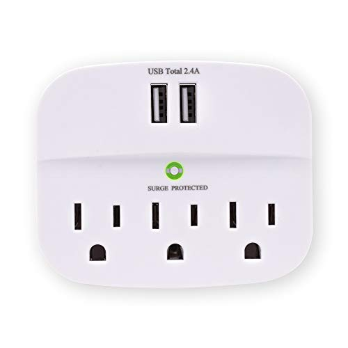 CRST 3-Outlet Surge Protector Wall Tap Adaptor, 3 Outlet Extender Multiple Plug Socket Splitter with Dual USB Charging…