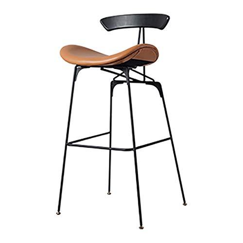 JQQJ - Taburete de bar industrial Ant bar, silla de viento industrial de piel de hierro forjado Osman para casa, respaldo taburete, taburete de bar, juego de 2 52x40x100cm nogal