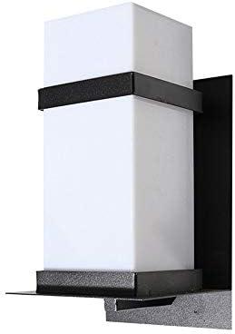 Lámpara de pared cuadrada para luz de pared al aire libre, pantalla de acrílico blanca, IP65 a prueba de lluvia Reemplazable bombilla LED E27, apliques de pared de aluminio negro mate moderno