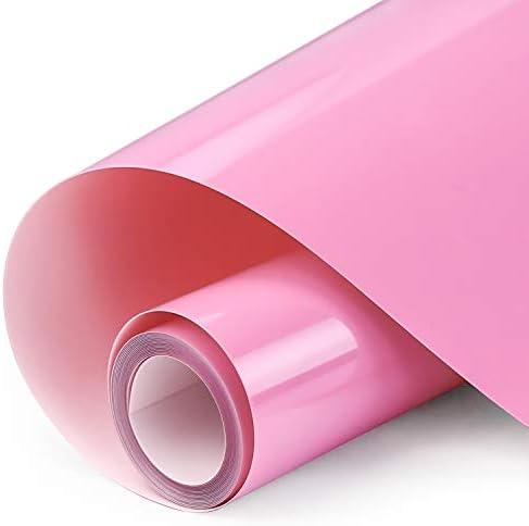ARHIKY HTV 12IN x 5FT Roll - Iron On Heat Transfer Vinyl (Pink)
