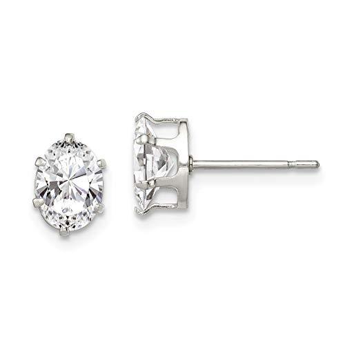 Sterling Silver 7x5 Oval Snap Set CZ Stud Earrings