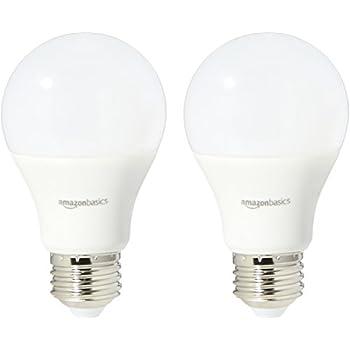 AmazonBasics 40 Watt Equivalent, Daylight, Non-Dimmable, A19 LED Light Bulb | 2-Pack